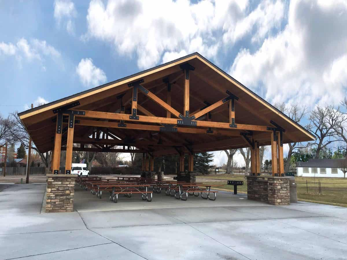 Lumber Pavilion with Stone Cement Base