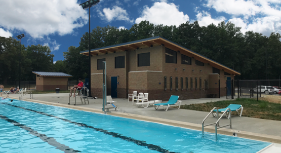 Aquatic Building with Showers Staff Office and Restrooms