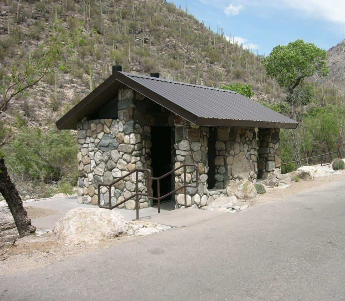 Waterless Restroom with Stone Exterio