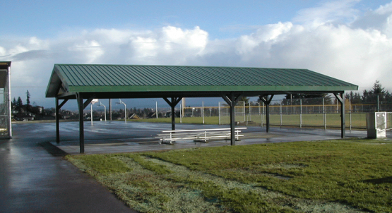 Attractive Steel Post Shelter with Green Metal Roof at High School
