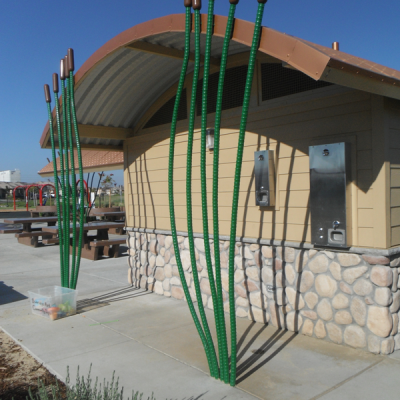 Fabricated Metal Cattails to Match Other Nature Inspired Themes in the Park