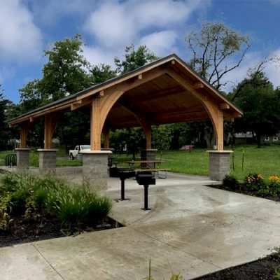 Unique Lumber Pavilion with Rounded Arch