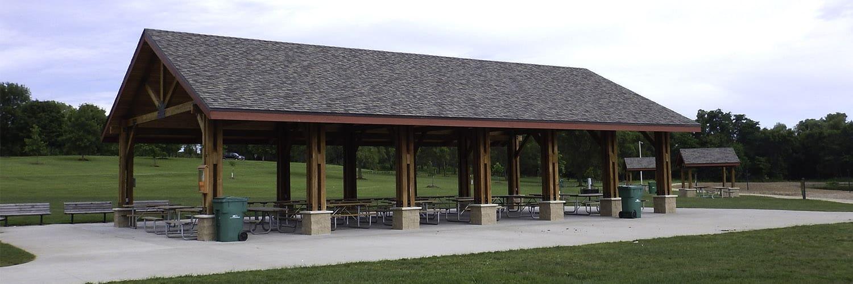 Large Lumber Pavilion Over Picnic Area