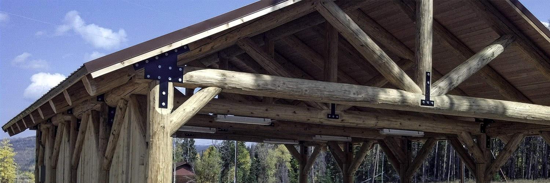 Large Log Pavilion with Installed Lighting