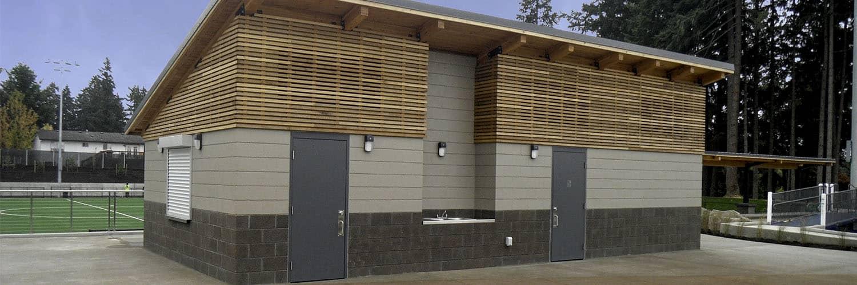 Single Sloped Roof Restroom with Rain Slate