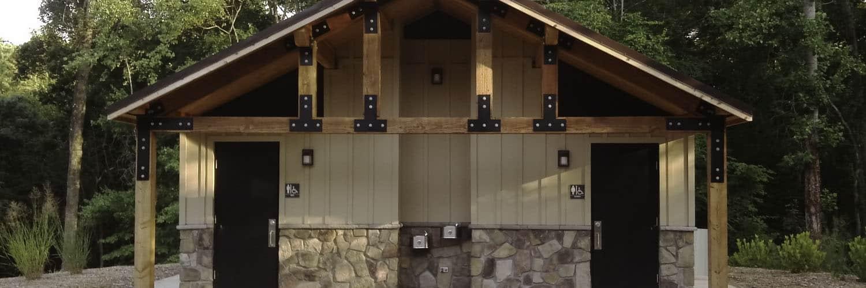 Hardi Board and Stone Masonry Base Restroom Building