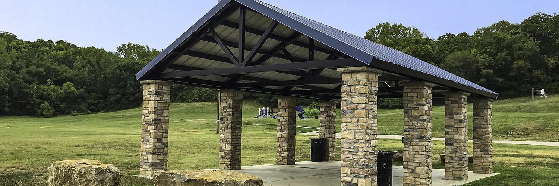 Custom Steel Pavilion with Stone Wainscot Posts