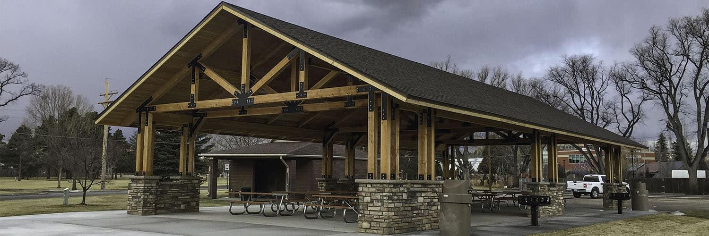 Pavilion with Stone Wainscot Masonry Footing