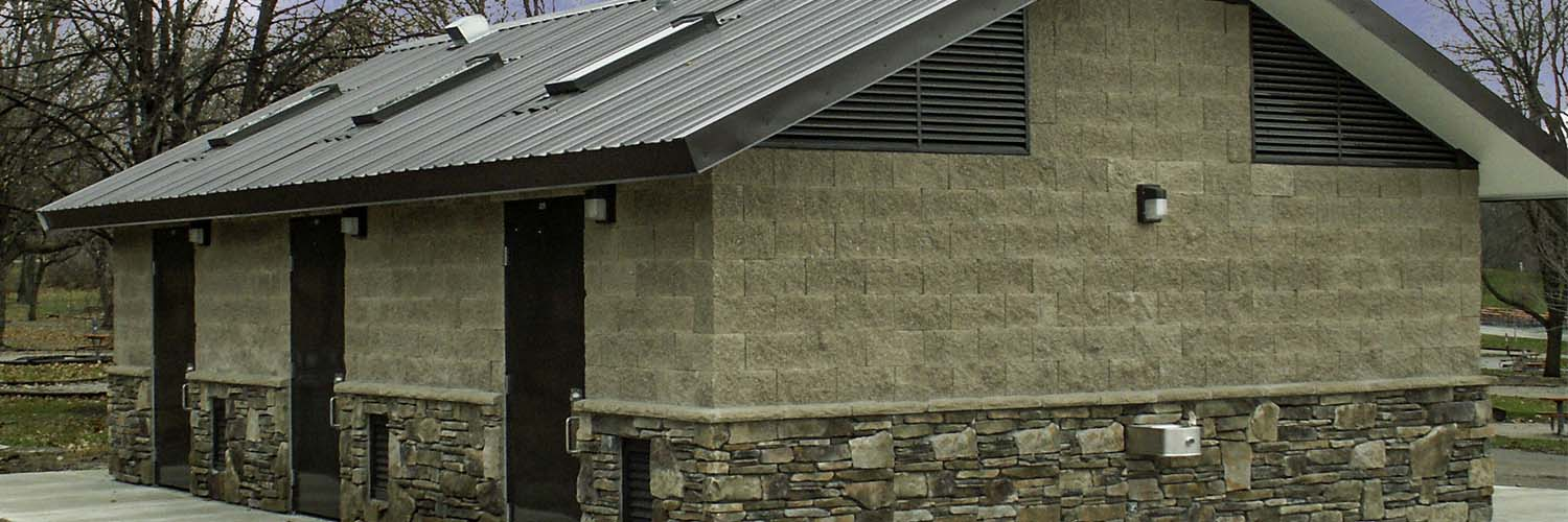 Large Cement Block and Stone Restroom