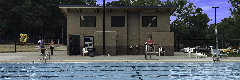 Custom Bathhouse at Public Pool with Lifeguard