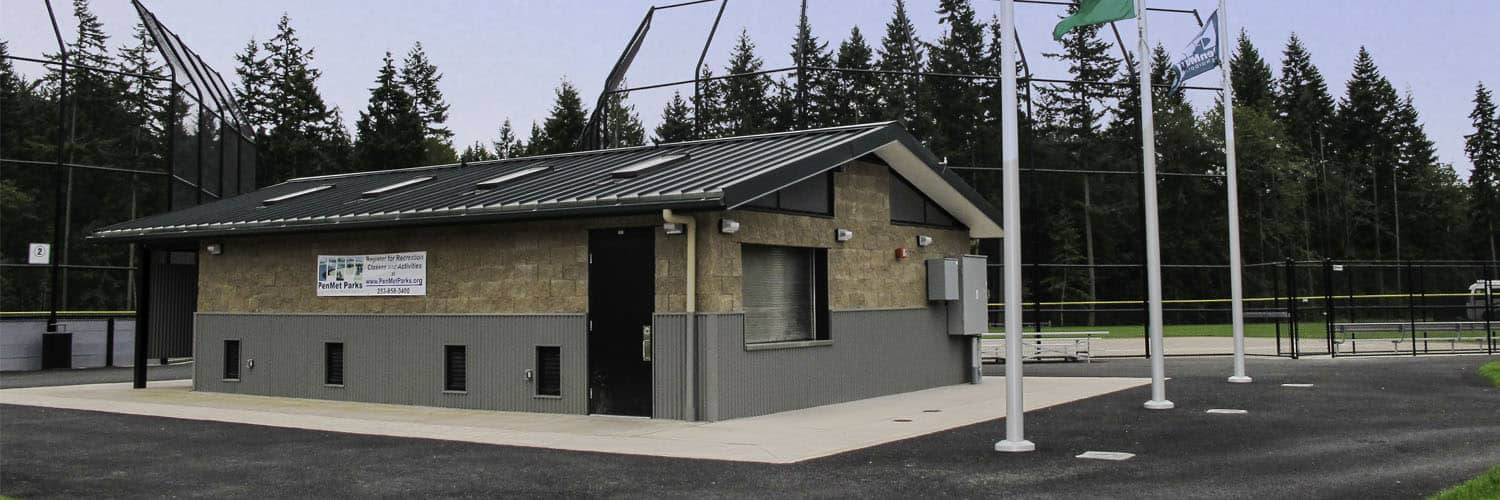 Concession and Restroom building at Baseball Fields near Seattle