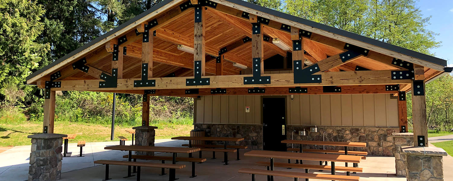 Restroom Concession with Extended Roof Pavilion