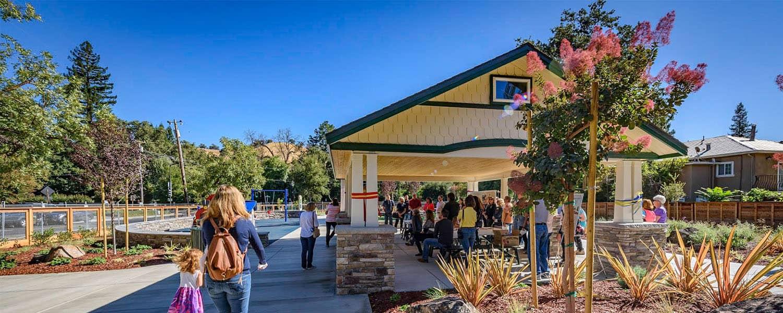 Custom Pavilion with Stone Base and Lap Siding