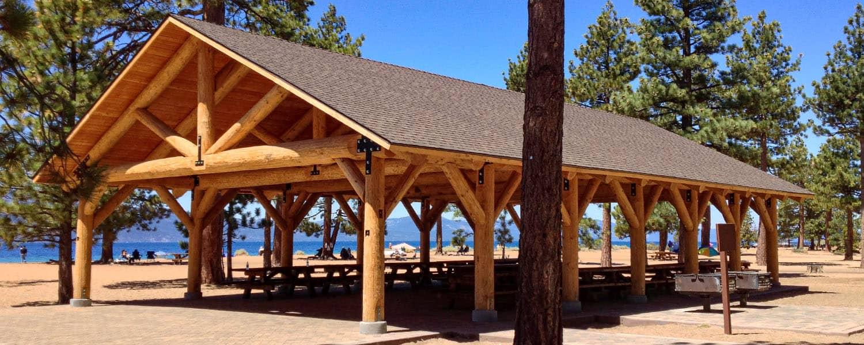 Large Log Pavilion for Picnic Area