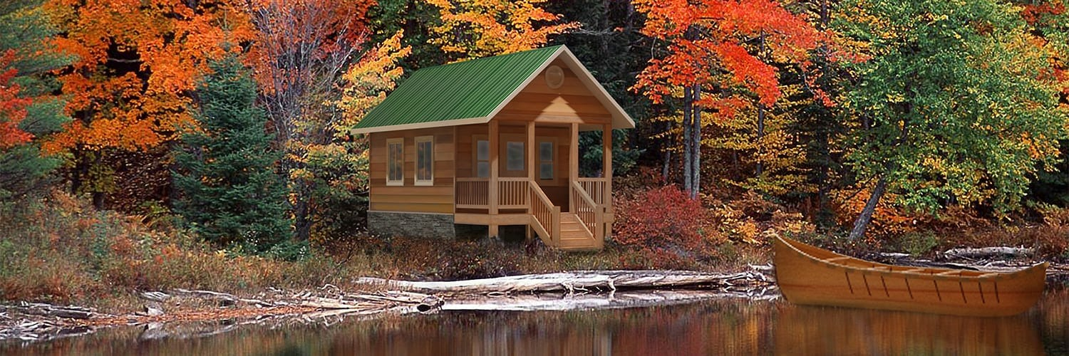 Small Cabin With Lumber Wrap Porch