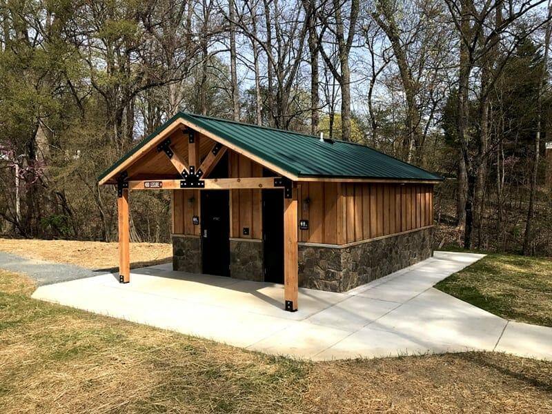 Double Unisex Restroom Building with Cedar Siding